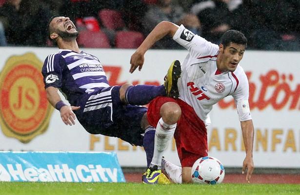 Hamdi Dahmani (r.) und Fortuna Köln wollen im vierten Heimspiel endlich den ersten Dreier.  Foto: IMAGO/Eibner