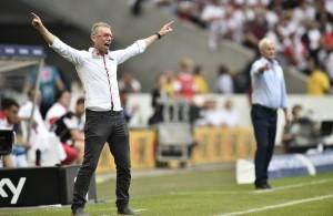 FC-Trainer Peter Stöger bejubelt einen verdienten Kölner Sieg in Stuttgart Foto: IMAGO/Michael Weber