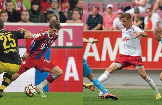 Ein deutscher Nationalspieler als Vorbild: Fortunas Rahn (r.) findet Gefallen an Bayerns Thomas Müller  Fotos: imago/Eibner, Benjamin Horn