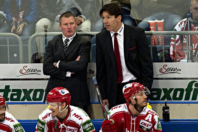 Einst ein Trainer-Team, nun Konkurrenten: Haie-Trainer Niklas Sundblad (l.) und Ex-Coach Uwe Krupp Foto: imago/Sven Simon