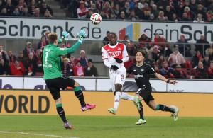 Anthony Ujah erzielt der erste Heimtor im Jahr 2015 für den 1. FC Köln.  Foto: imago/Eibner