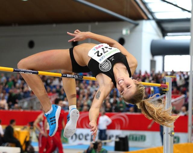 Sprang in Karlsruhe zu Silber: LT-DSHS-Athletin Alexandra Plaza Foto: imago/Chai v.d. Laage