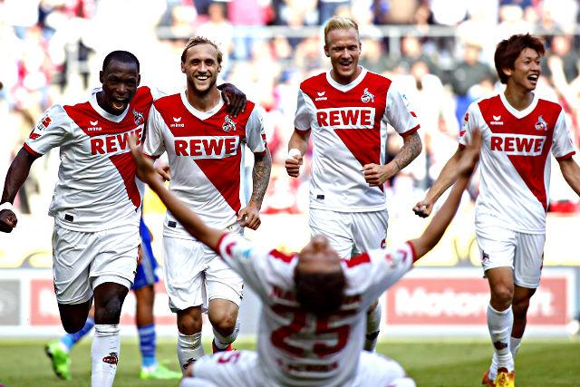 Jubel beim 1. FC Köln: Der Klassenerhalt ist nach dem 2:0 gegen Schalke perfekt Foto: imago/Mika