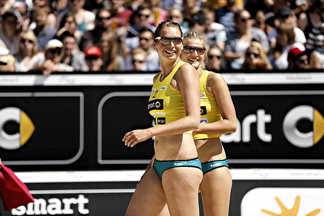 Hatten in Olten gut lachen: Sandra Seyfferth (l.) und Anni Schuhmacher Foto: imago/HochZwei