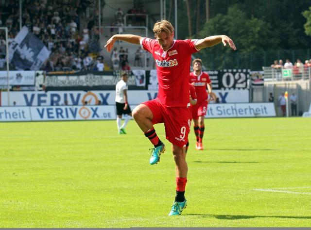 Sören Brandy feiert sein zwischenzeitliches 1:1 in Sandhausen. Am Ende verlor Union 3:4. Foto: image/Jan Huebner