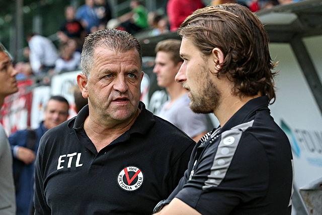 Hoffen gegen Bayer auf die Sensation: Wunderlich (l.) und Viktoria-Coach Tomasz Kaczmarek Foto: imago/Foto2press