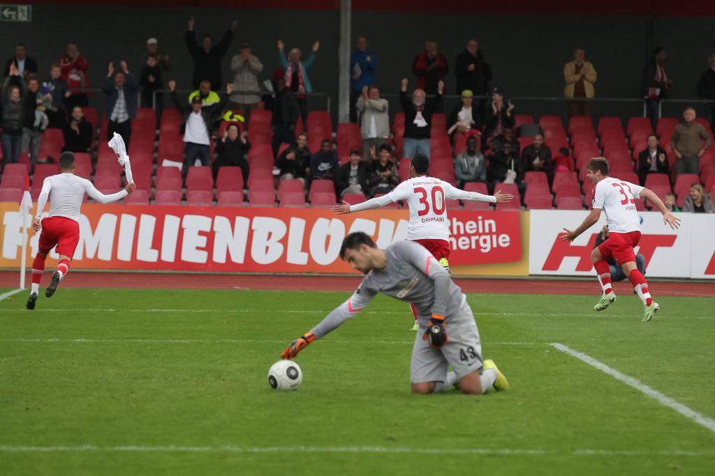 Wie hier gegen Werder Bremen jubelte Fortuna Köln im Südstadion in der Hinrunde oft