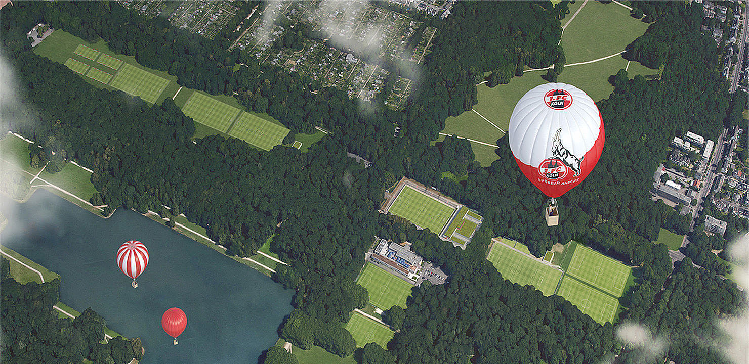 Ein Heißluftballon über dem Grüngürtel