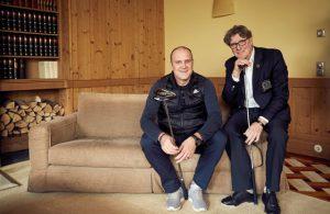 Jörg Schmadtke (l.) und Toni Schumacher (beide 1. FC Köln) im GOLFSPIEL-Gespräch im Gut Lärchenhof
