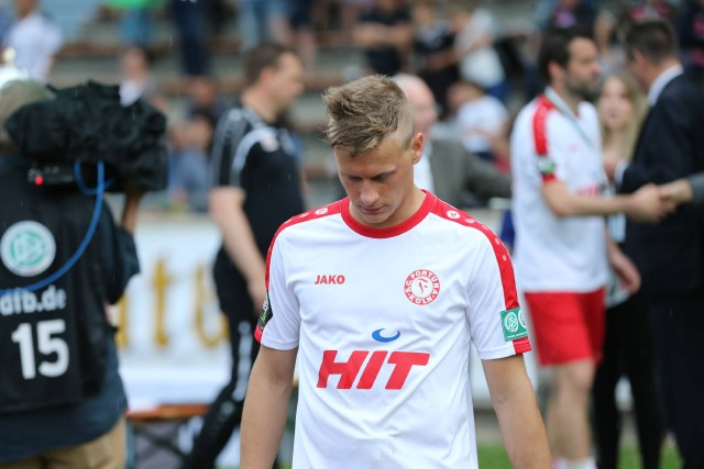Julius Biada, Fortuna Köln, nach der Niederlage im Endspiel des FVM-Pokals 2015/16