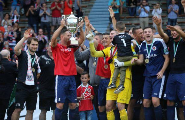 Viktoria Köln jubelt über den Sieg im FVM-Pokal 2015/16