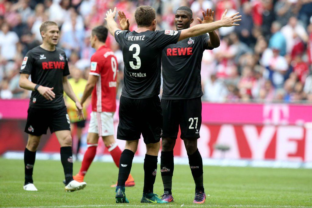 Der 1. FC Köln jubelt in München: Dominique Heintz und Anthony Modeste feiern den Ausgleichstreffer zum 1:1 Foto: imago/Eibner