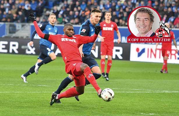 Anthony Modeste, der kölsche Goalgetter schießt im Bundesligaspiel gegen die TSG Hoffenheim aufs Tor.