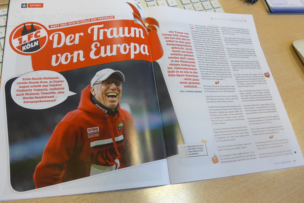Der Traum vom Europapokal lebt! In der neuen Köln.Sport wird das Thema herzerfrischend optimistisch angegangen.