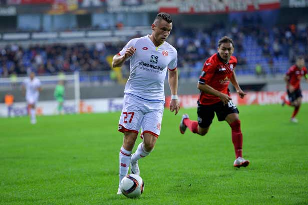 Gegen das Team aus Aserbaidschand feierte Clemens mit dem FSV Mainz 05 zum Abschluss der Gruppenphase einen 2:0-Sieg.