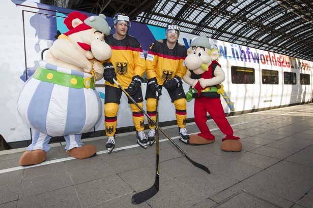 Asterix und Obelix sind die Maskottchen der Eishockey WM 2017