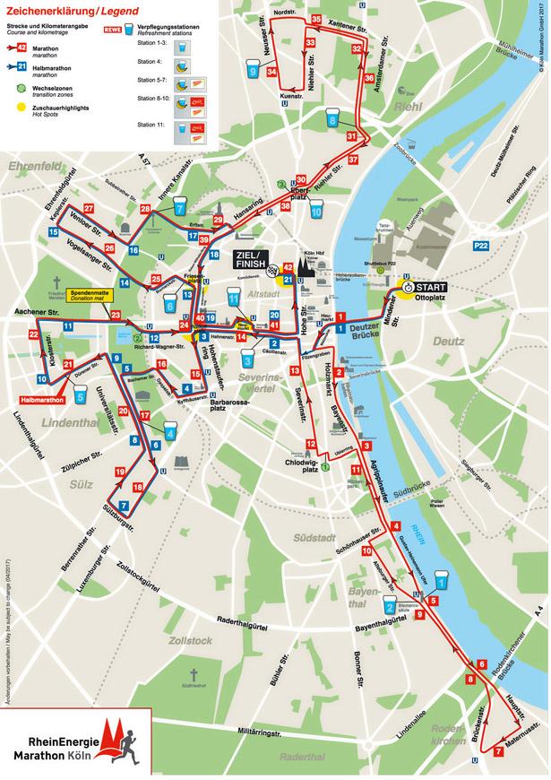 Die Strecke des RheinEnergie Marathons wurde erstmals seit vier Jahren wieder geändert.