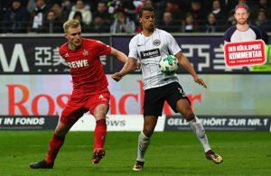 Zweikampf aus dem Bundesliga-Spiel zwischen Eintracht Frankfurt und dem 1. FC Köln.