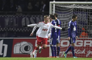 Julius Biada jubelt über seinen ersten Treffer gegen den VfL Osnabrück