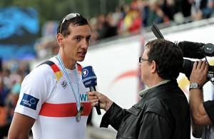 Felix Drahotta, RTHC Leverkusen, rudert im Deutschland-Achter
