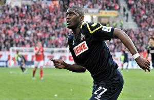 Anthony Modeste, Stürmer des 1. FC Köln, jubelt über seinen Siegtreffer in Mainz